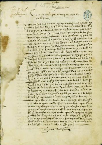 Historia de la Nobleza. BNM, Mss. 3084