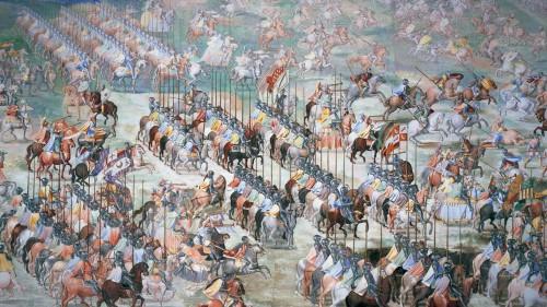 Caballeros en armas (El Escorial, galería de las Batallas)