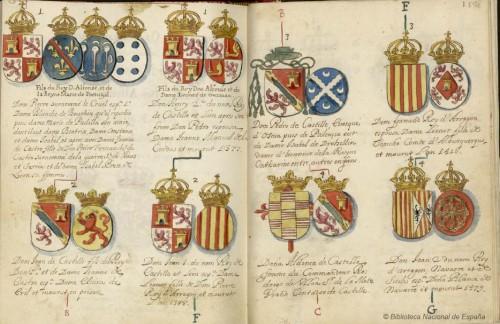 Heráldica de varios  caballeros de la Banda de Castilla