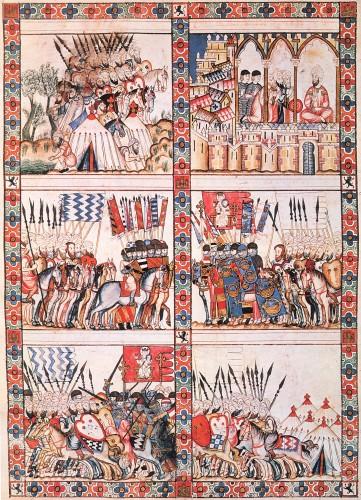 Dos ejércitos en combate, según las Cantigas. Uno de los caballeros lleva las armas de los Guzmanes.