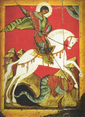 San Jorge, patrón de la Caballería, en un icono bizantino del s. XV