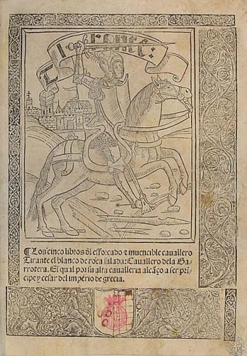 Portada de la primera edición, en castellano, de Tirante el Blanco (1511)