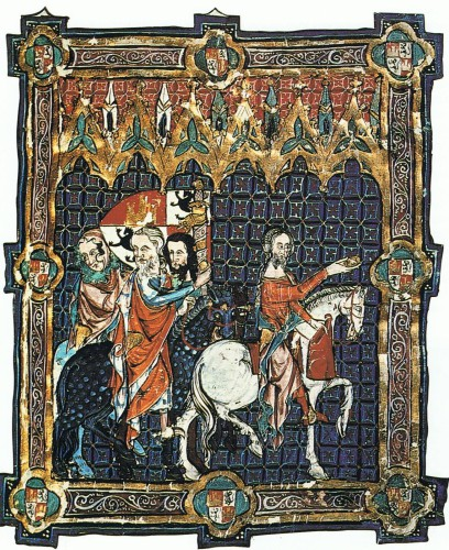 Libro de la coronación de los Reyes de Castilla (s. XIV), representando la coronación de Alfonso XI