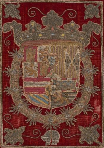 Armas de Felipe II, III y IV en una encuadernación del s. XVII