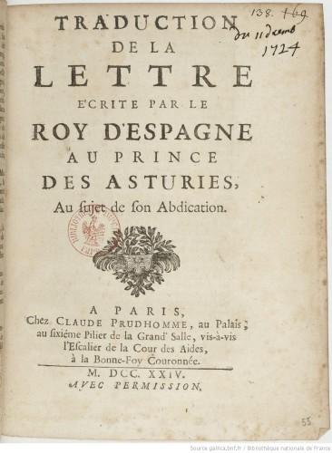 Carta de abdicación de Felipe V a Luis I. BNF
