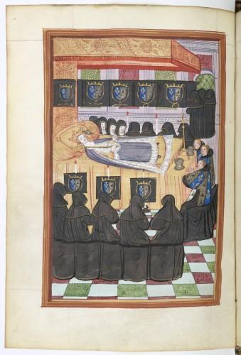 Catafalco de Ana de Bretaña, con los heraldos y las plañideras (plangeuses) rodeando el cuerpo, revestido con los atributos reales
