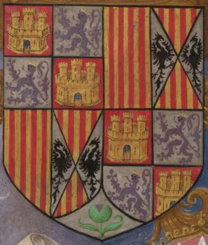 Detalle de las armas de Castilla, León, Aragón, Dos Sicilias y Granada.