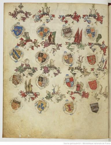Otra página del armorial, mostrando un extenso repertorio heráldico