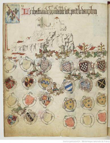 Una página del armorial de Auvernia, de Guillaume Revel (1450)