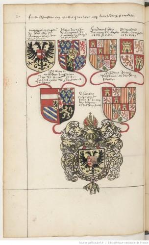 Genealogía paterno-materna del emperador: Armas de Maximiliano de Austria, María de Borgoña, Fernando de Aragón, Isabel de Castilla, Felipe I y Juana de Castilla. En la base del árbol, las armas propias de Carlos V tras su coronación imperial
